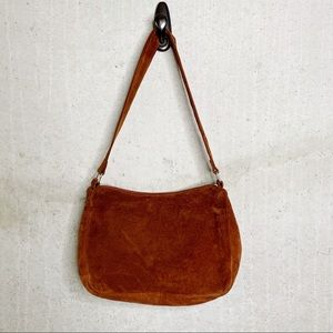Bloomingdales cognac suede boho shoulder bag